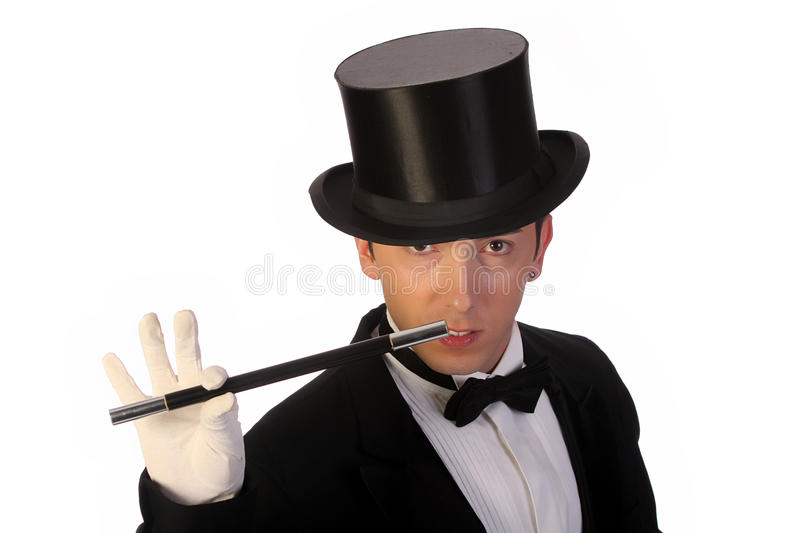 Download Young Magician Performing With Wand Stock Photo - Image: 9869562