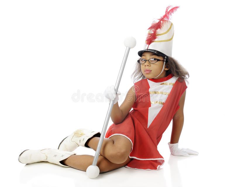 Young Majorette Sitting royalty free stock photos