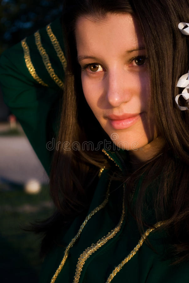 Young majorette watching at something stock photography