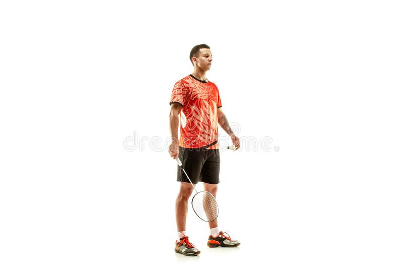 Young male badminton player over white background. Young man badminton player standing over white studio background. Fit male athlete royalty free stock photos