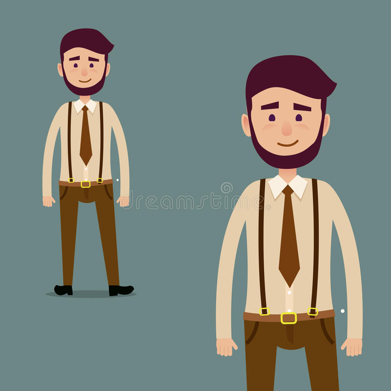 Young Male Bearded Cartoon Character Illustration vector illustration