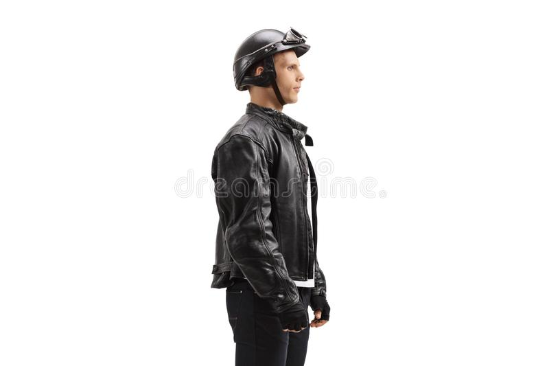 Young male biker waiting in line stock photo