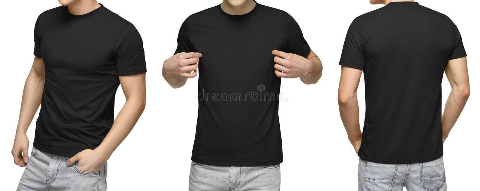 Young male in blank black T-shirt, front and back view, white background . Design men tshirt template and mockup for print stock photography