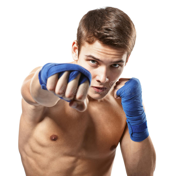 Young male boxer punched royalty free stock photography