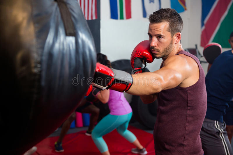 Young male boxer punching black bag stock photography
