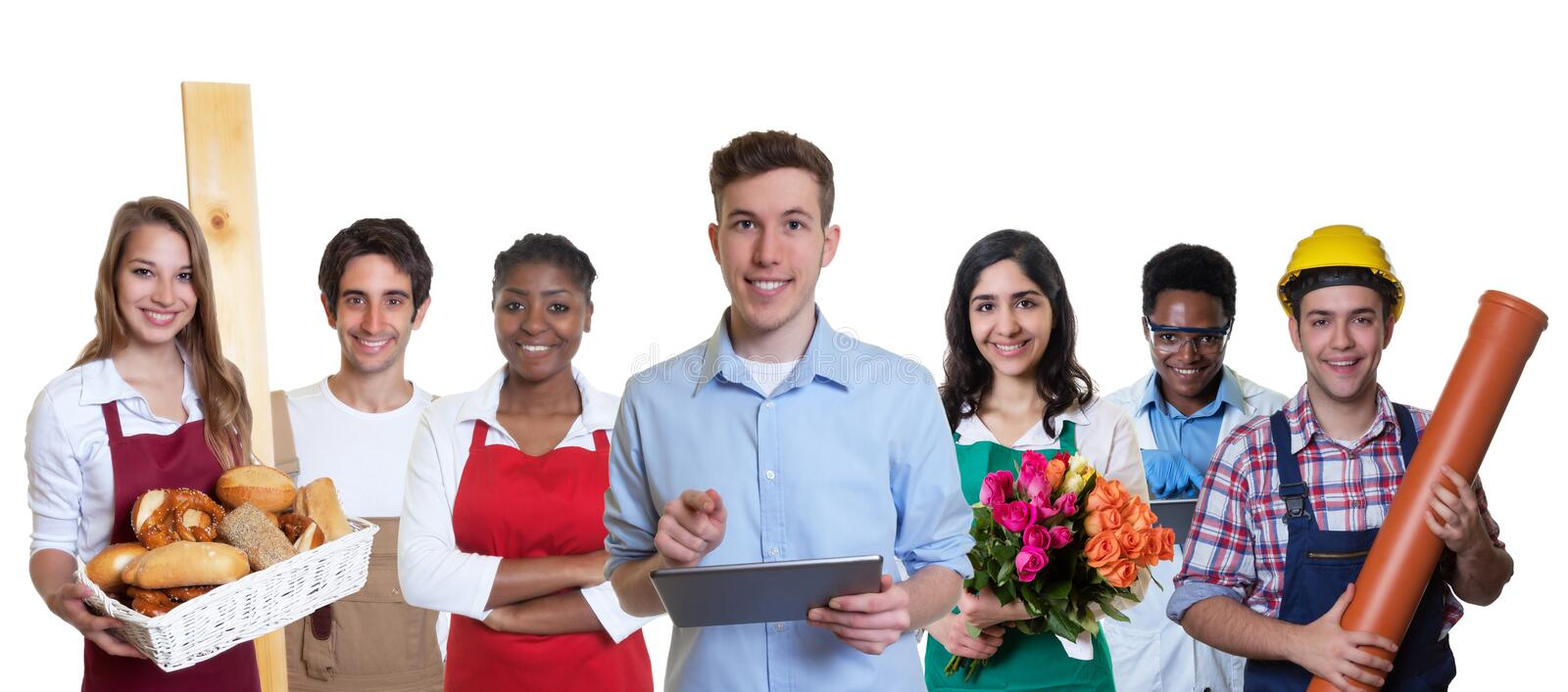 Young male business trainee with group of apprentices royalty free stock images