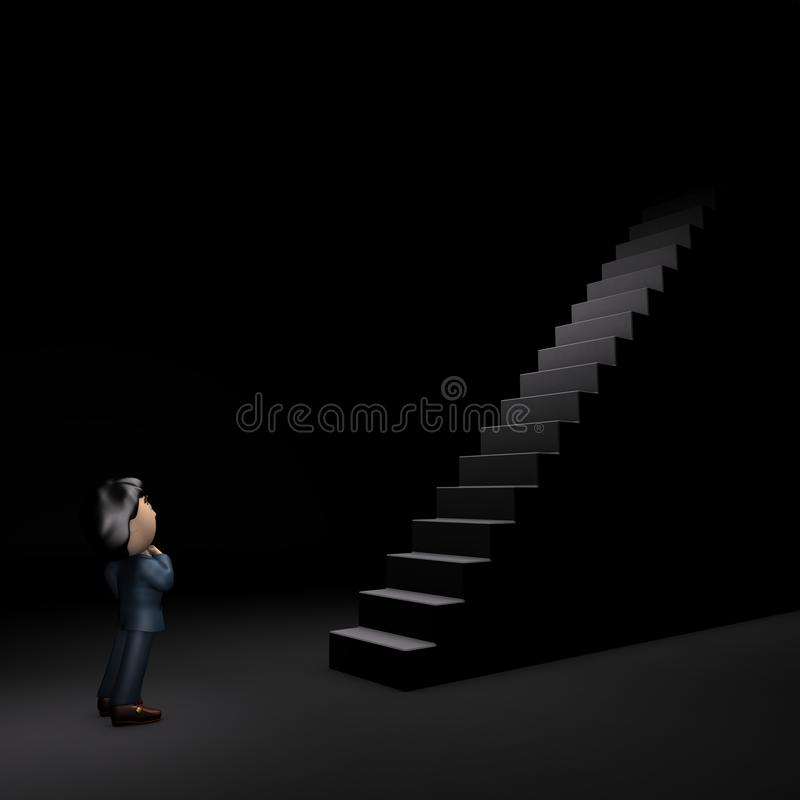 Young male businessman looking up in front of a big long stairs. Dark background. 3D illustration royalty free illustration