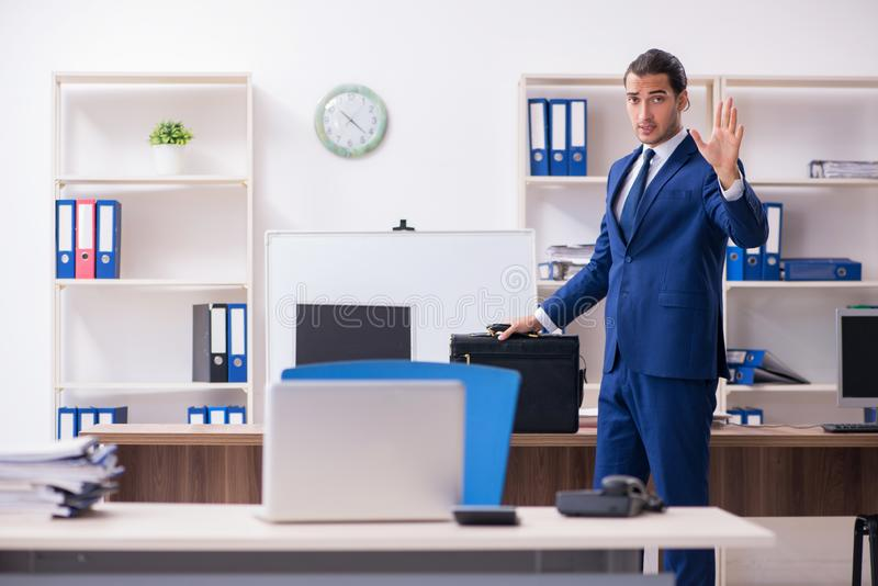 Young male businessman working in the office. The young male businessman working in the office royalty free stock photo