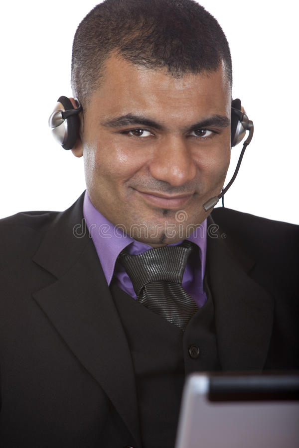 Download Young Male Call Center Agent With Headset Stock Photo - Image: 11363612