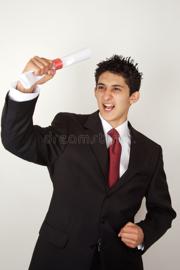 Young male celebrating academic success