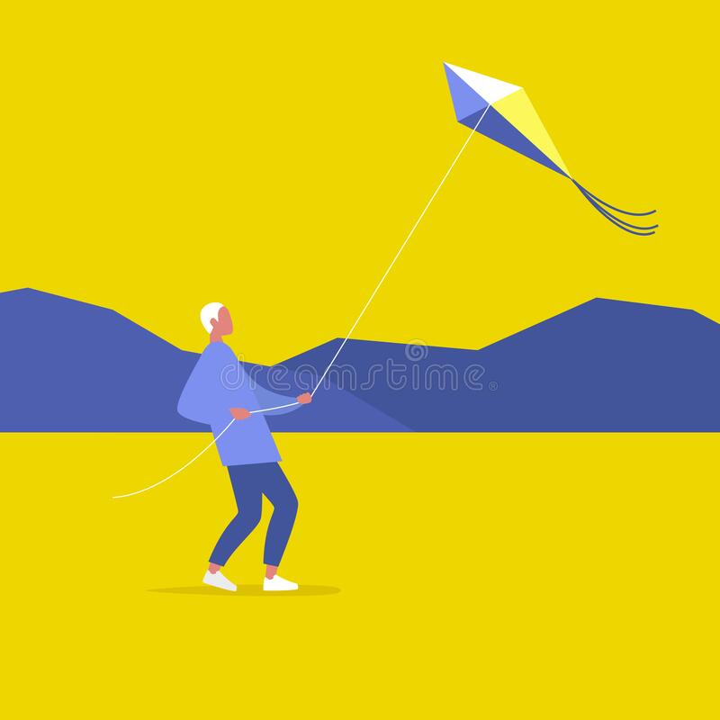 Young male character flying a kite outdoor, leisure pursuit.  vector illustration