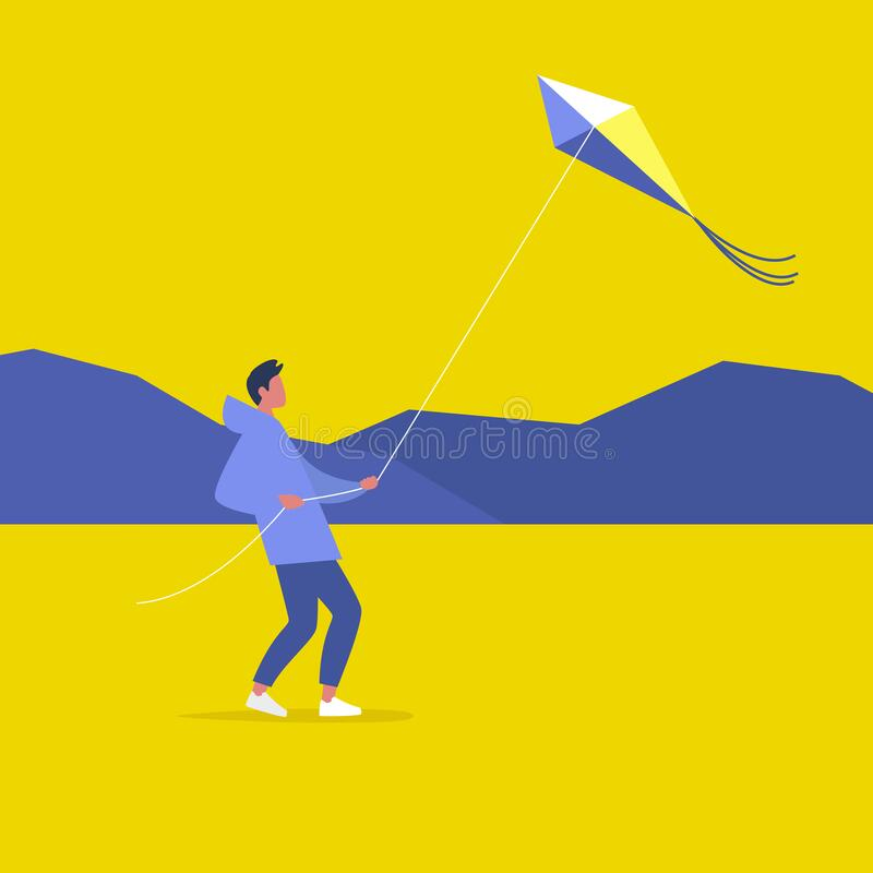 Young male character flying a kite outdoor, leisure pursuit.  stock illustration