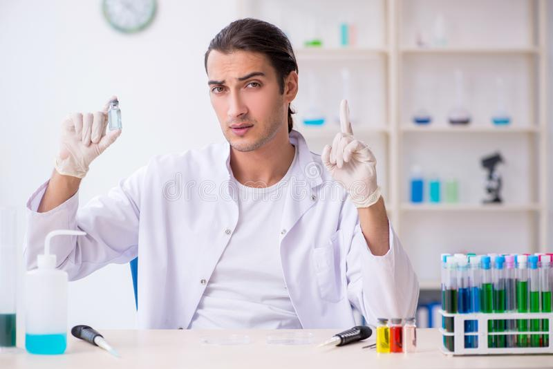 Young male chemist working in the lab. The young male chemist working in the lab royalty free stock photo