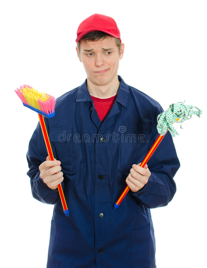 Download Young male cleaner stock image. Image of manual, tool - 29235083