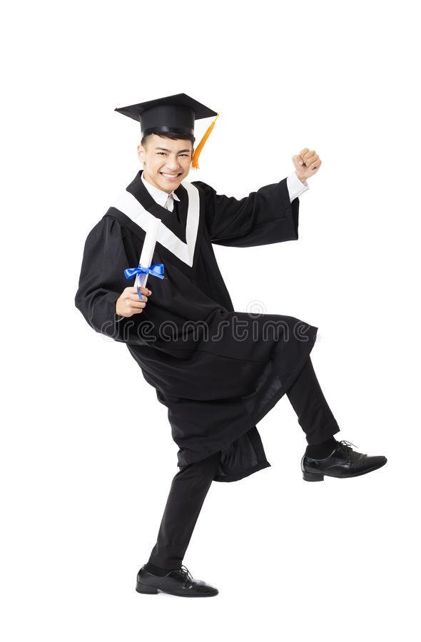 young male college graduation dancing royalty free stock photo