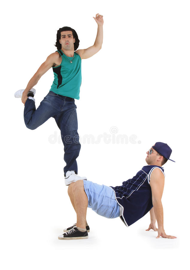 Young male dancers performing a bboying stunt stock photo