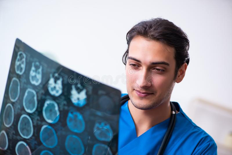 Young male doctor looking at x-ray images. The young male doctor looking at x-ray images royalty free stock photo