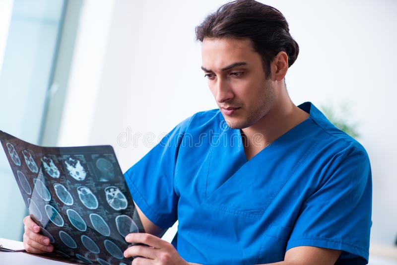 Young male doctor looking at x-ray images. The young male doctor looking at x-ray images royalty free stock photos