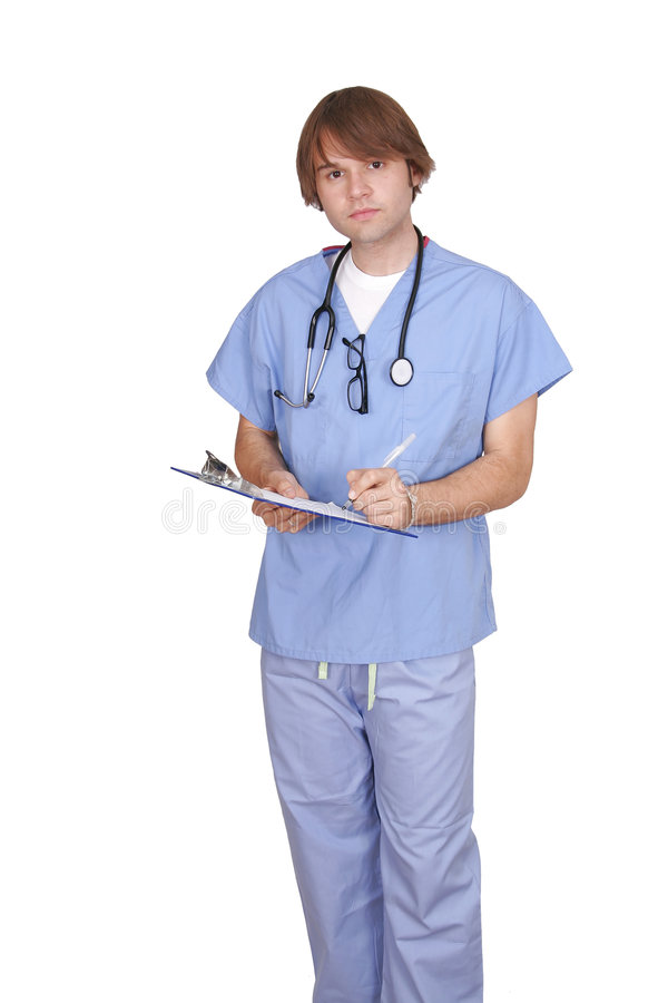 Young male doctor or nurse royalty free stock photo