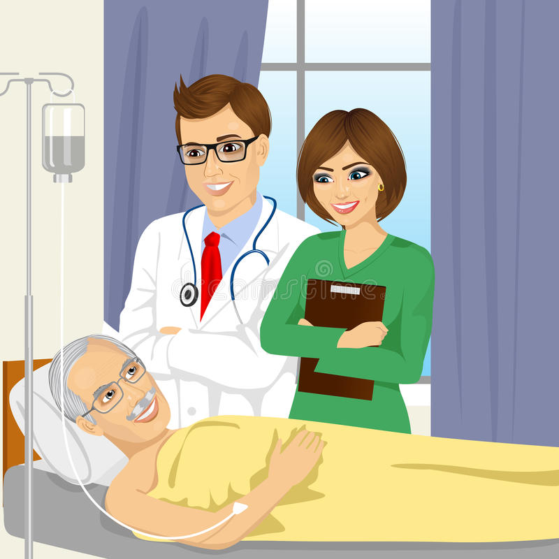 Young male doctor and nurse visiting a senior old man patient stock illustration