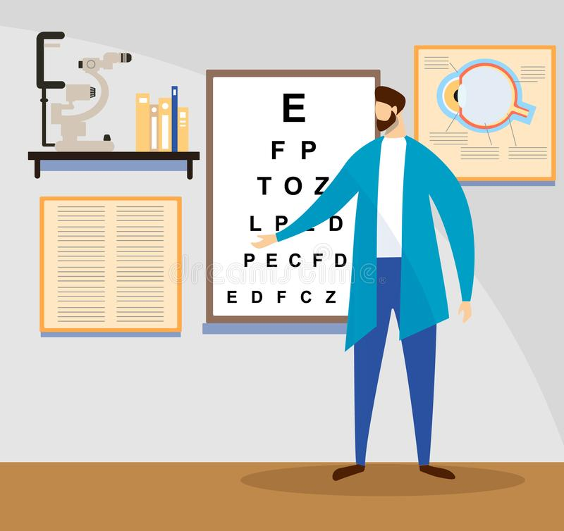 Doctor Stand at Sight Check Board for Vision Test. Young Male Doctor Stand at Sight Check Board for Vision Test Pointing on Letters. Medical Ophthalmologist vector illustration