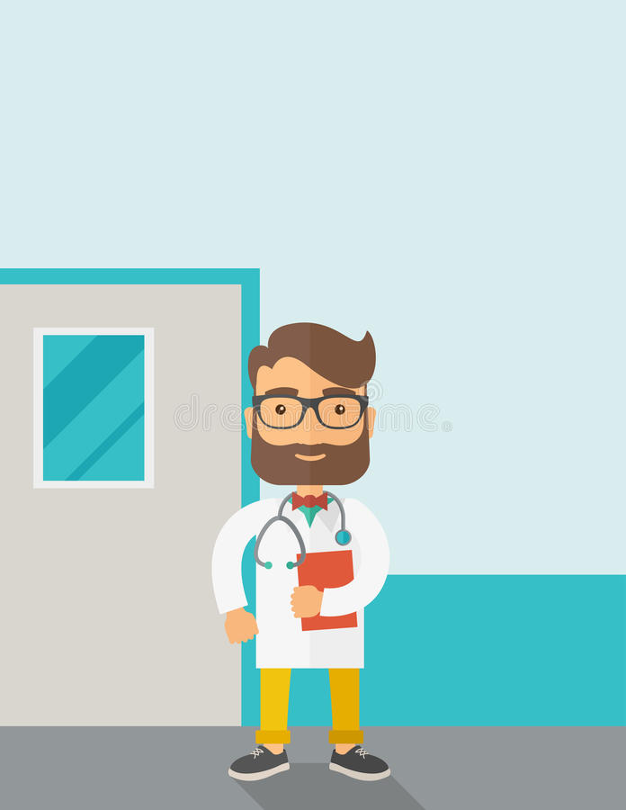 Young male doctor standing with stethoscope vector illustration