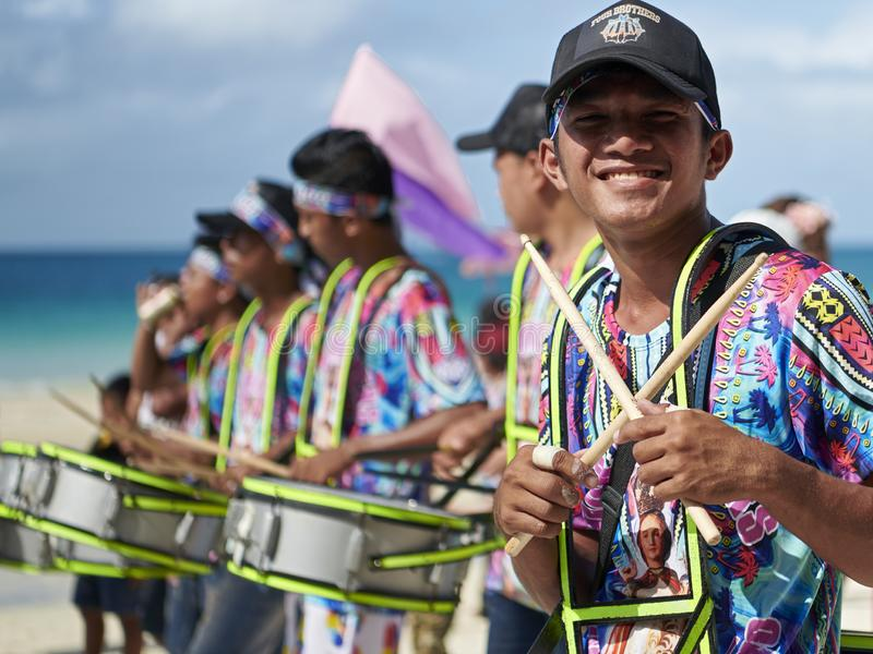 Young male drummers joining the Ati-atihan festival on Boracay Island. The traditional catholic Ati-Atihan Festival parade is held in honor of the Santo Niño stock photos