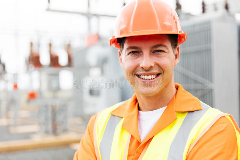 Young male electrical engineer stock image