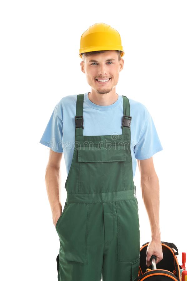 Young male electrician with tools bag on white background stock images