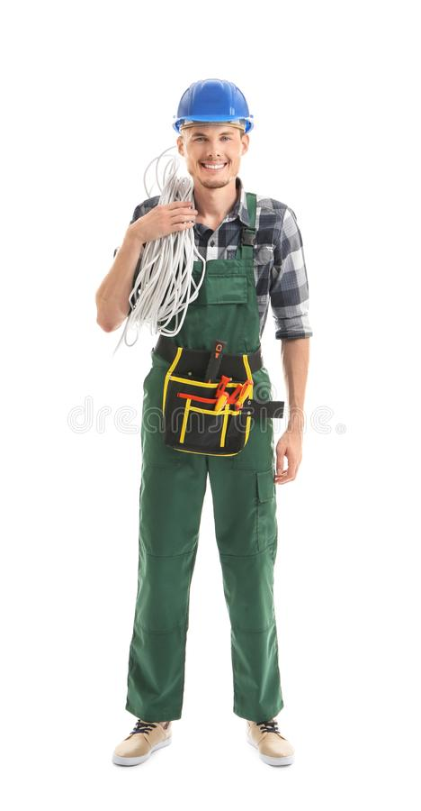 Young male electrician on white background royalty free stock photos