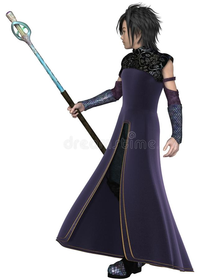 Young Male Elven Sorcerer. Fantasy illustration of a young male elven sorcerer wearing purple velvet robes and carrying a magic staff, 3d digitally rendered royalty free illustration