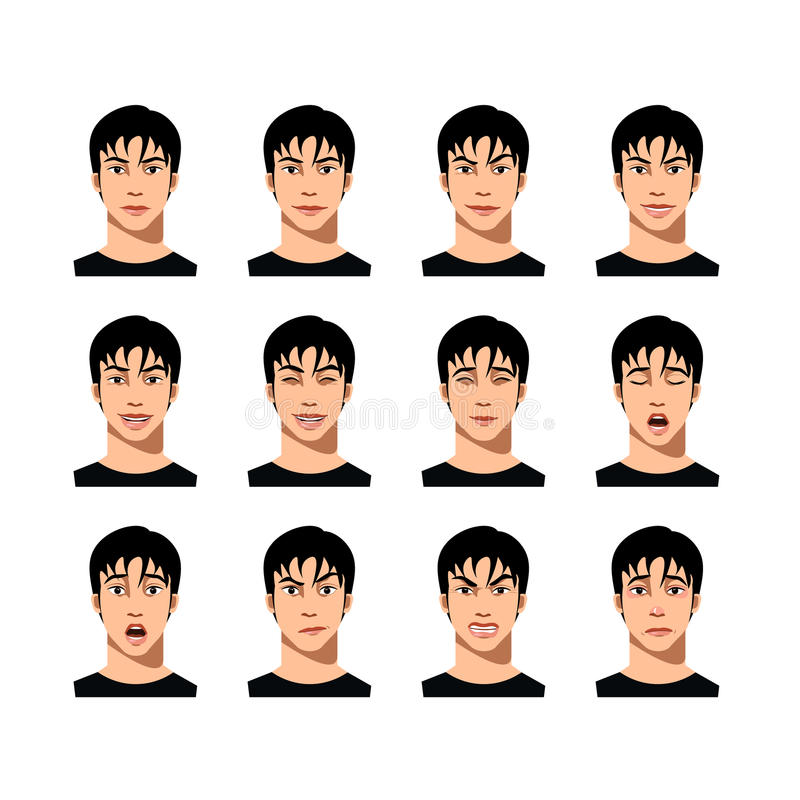 Young male face expression set royalty free illustration