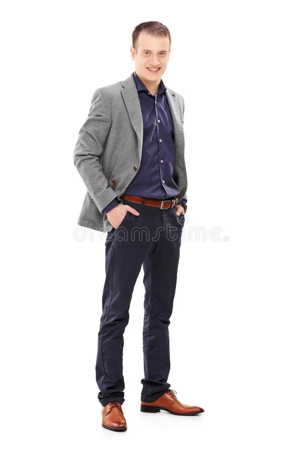 Young male fashion model posing stock photos