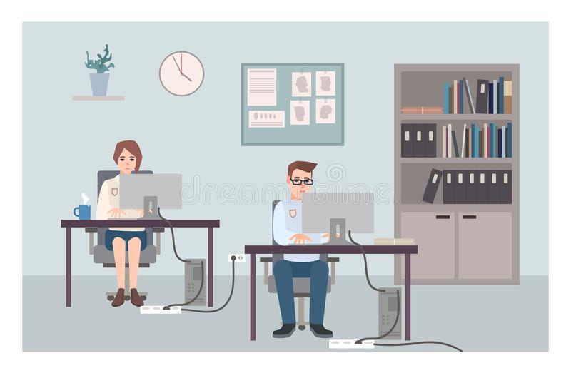 Young male and female police officers sitting at desks and investigating crimes. Policemen or cops working at computers. At criminal investigation office. Flat vector illustration