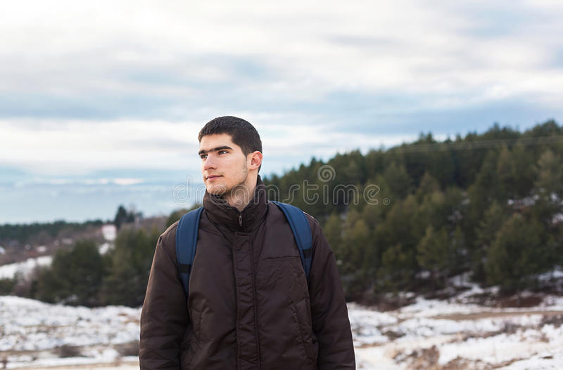Download Young male hiker in nature stock photo. Image of peak - 29643854