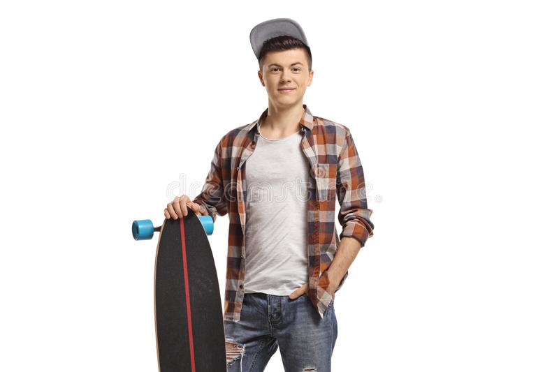 Young male hipster with a longboard. Isolated on white background stock photos