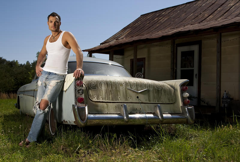 Young Male Model With Old Car Royalty Free Stock Photos ...
