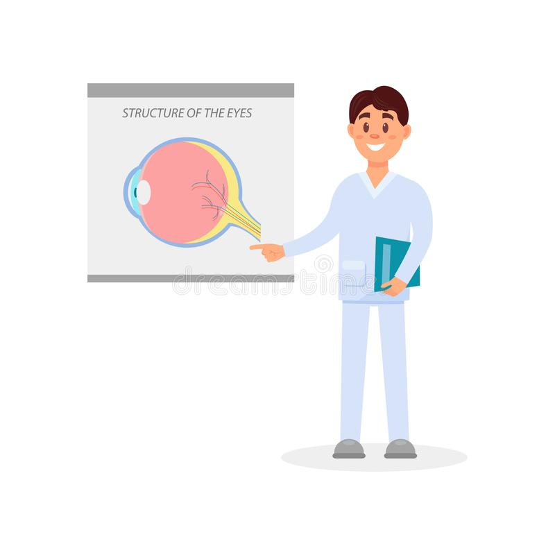 Young male ophthalmologist standing and pointing at poster with structure of the eyes. Cartoon medical worker in white. Young male ophthalmologist standing and royalty free illustration