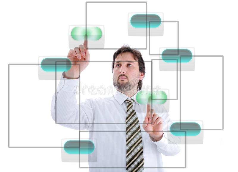 Young Male Person Pressing Digital Buttons Royalty Free Stock Photos