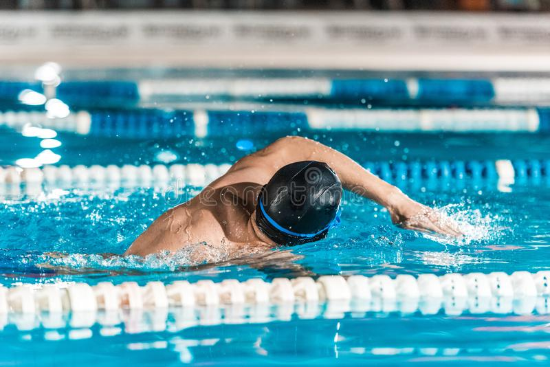 Young male professional swimmer in competition swimming. Pool royalty free stock photos