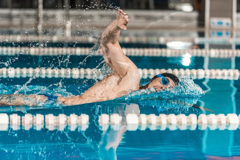 Young male professional swimmer in competition swimming. Pool stock image