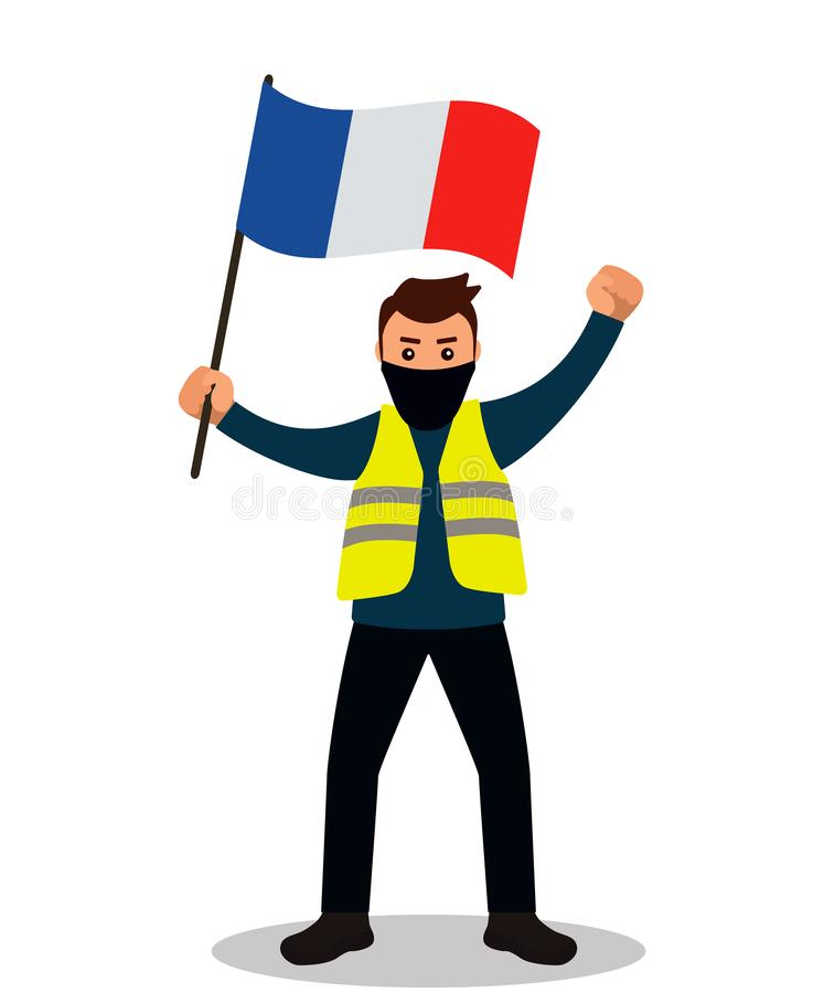 Young male protester in a yellow vest. Flat design. Demonstration of yellow vests against the new increase in taxes imposed by the vector illustration