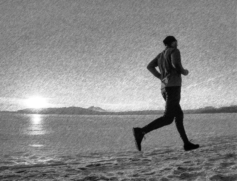 Young male runner training outdoors in winter times, man run. On the snow. Black and white dashed pencil sketch effect, workout, trail, sport, speed, season royalty free stock photography