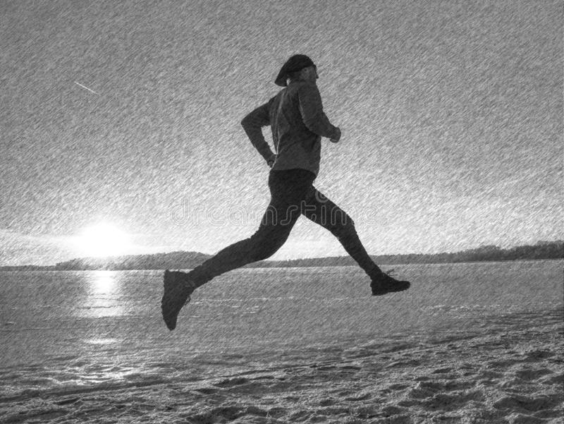 Young male runner training outdoors in winter times, man run. On the snow. Black and white dashed pencil sketch effect, workout, trail, sport, speed, season stock images