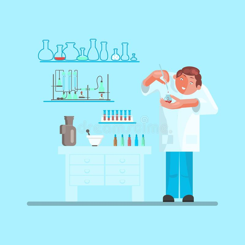 Male scientist in lab room vector illustration