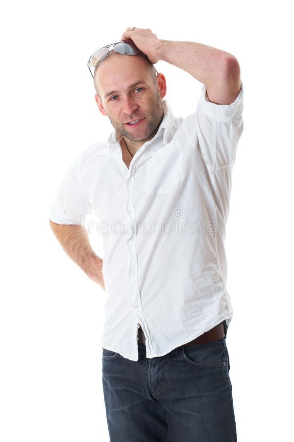 Download Young Male Scratch His Head, Wears White Shirt Stock Image - Image: 23201159