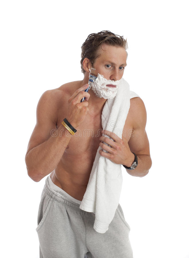 Download Young Male Shaving Isolated Stock Image - Image: 19228495
