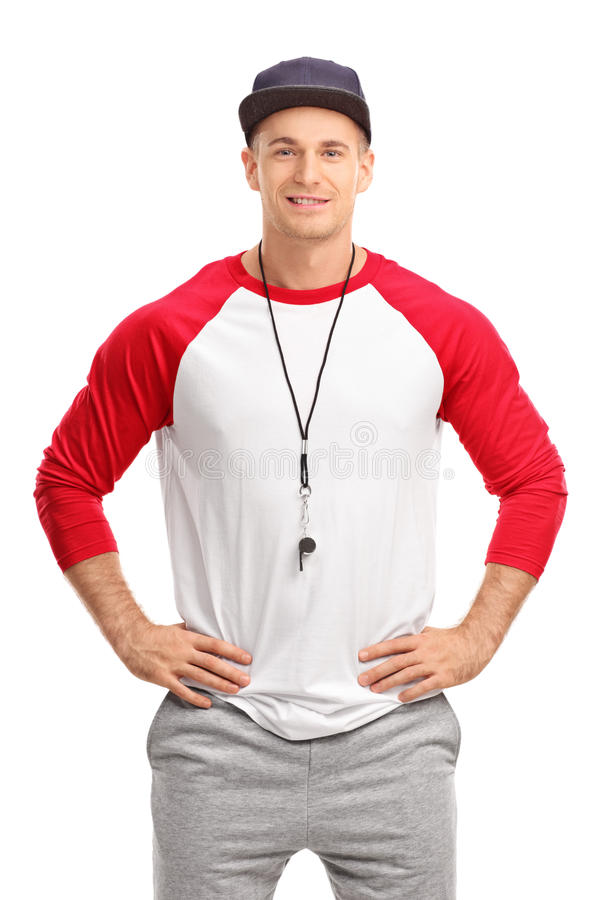 Young male sports coach stock photo