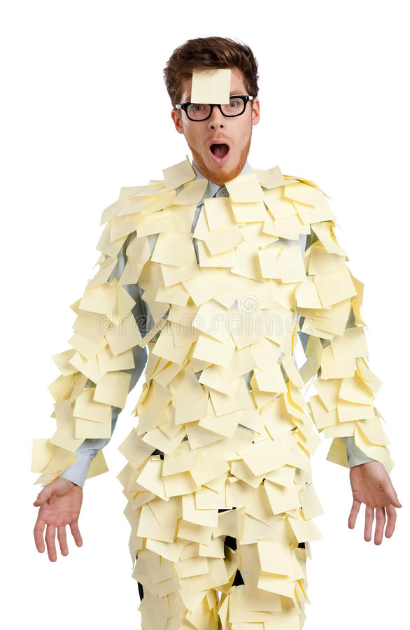 Download Young Male With A Sticky Note On His Face, Covered With Yellow Sticky Notes Stock Photo - Image: 29103980