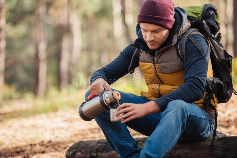 Young male traveler with backpack drinking tea from thermos. In forest stock photography